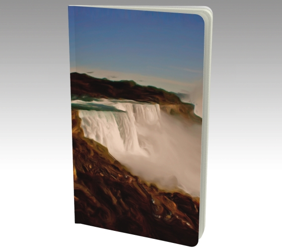 Small journal with art Majestic Niagara Falls painting by Malinee Ganahl