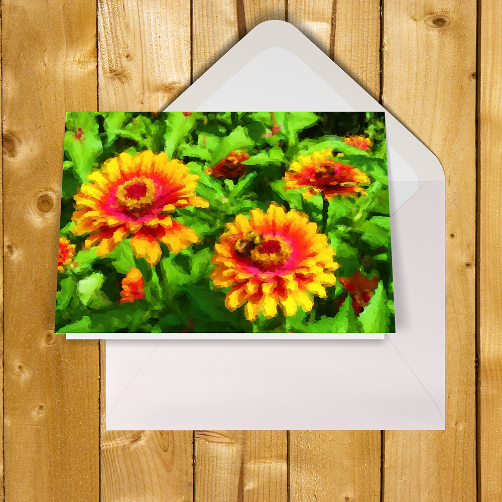 Notecard with art Bee in Flower Bed by Malinee Ganahl