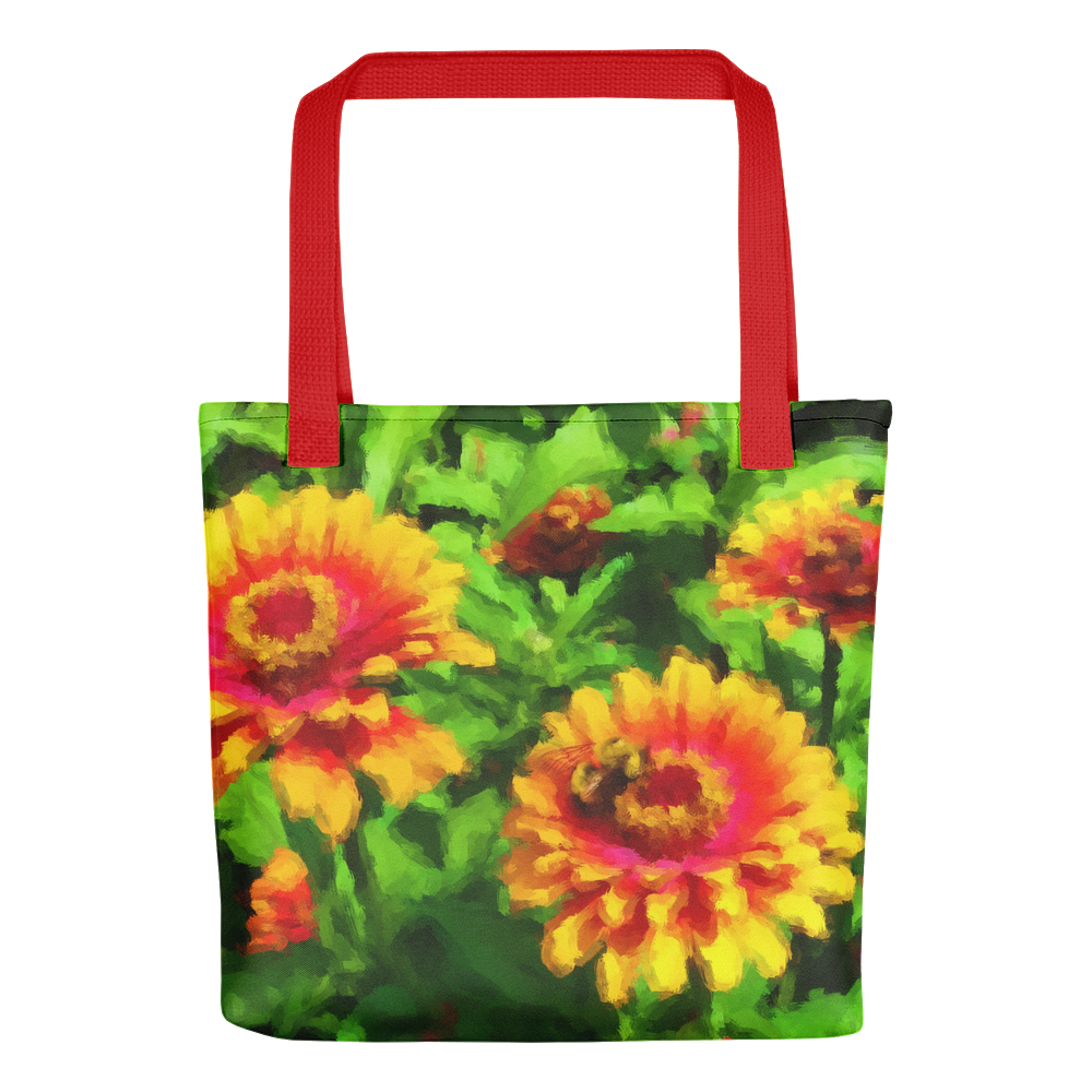 Tote bag with art Bee in Flower Bed by Malinee Ganahl