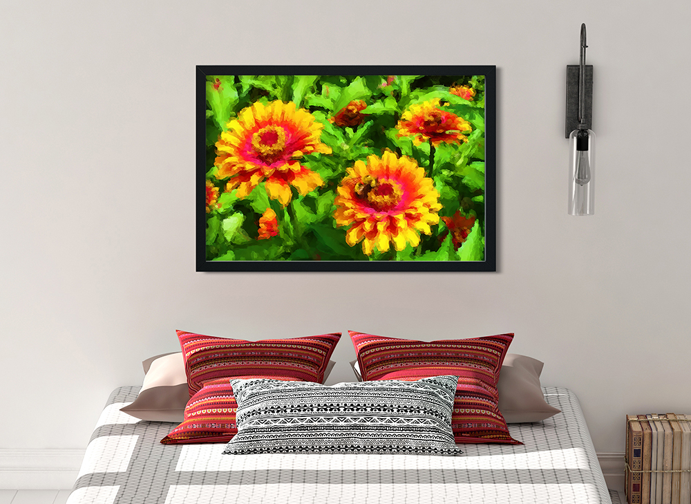 Fine Art Print of Bee in Flower Bed by Malinee Ganahl